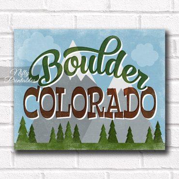 Boulder Colorado Art Print - Retro Mountain Scene