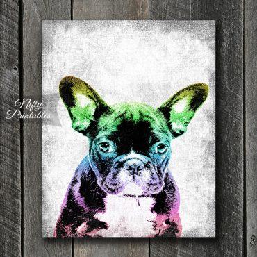 Bulldog Rainbow Puppy Art Print