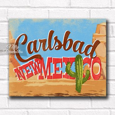 Carlsbad New Mexico Art Print - Retro Desert Scene