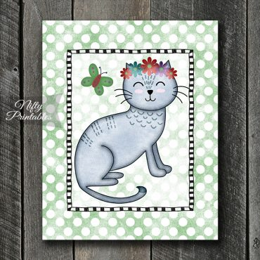 Grey Cat On Green Dots Art Print