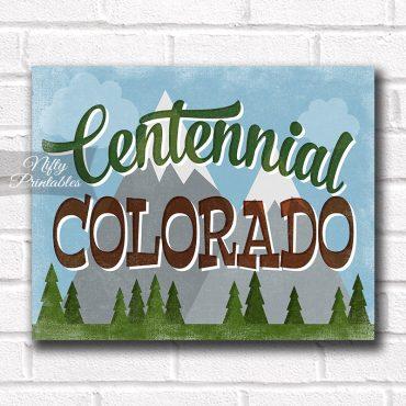 Centennial Colorado Art Print - Retro Mountain Scene