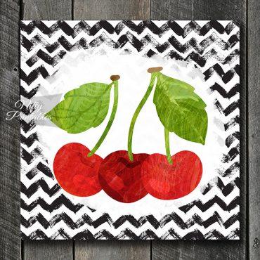 Red Cherries On Chevron Art Print