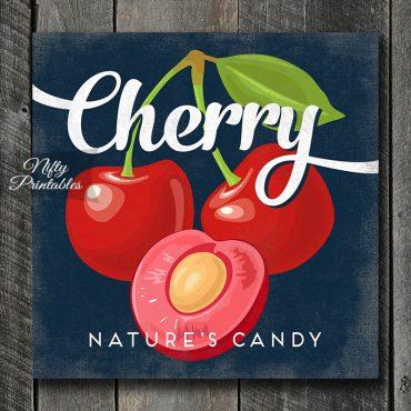 Vintage Cherry Art Print - Retro Fruit