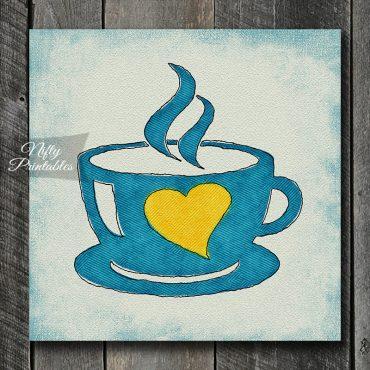 Coffee Cup Heart Art Print - Blue Yellow