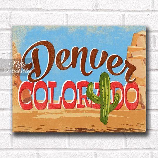 Denver Colorado Art Print - Retro Desert Scene