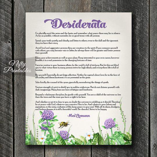 Desiderata Art Print - Purple Green