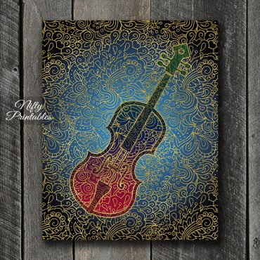 Cello Filligree Art Print - Multicolor