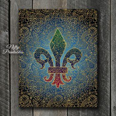 Fleur-De-Lis Filligree Art Print - Multicolor