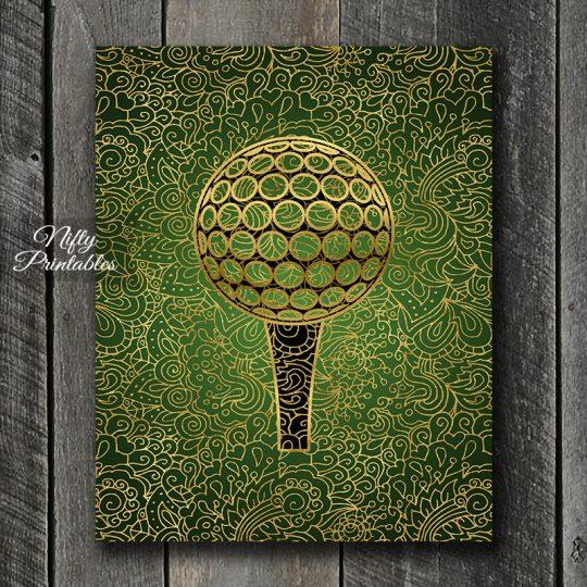Golf Ball & Tee Filligree Art Print - Green