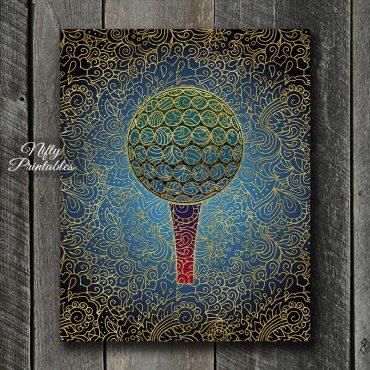 Golf Ball & Tee Filligree Art Print - Multicolor