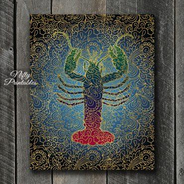 Lobster Filligree Art Print - Multicolor