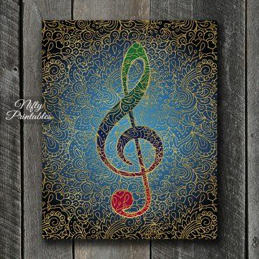 Treble Clef Filligree Art Print - Multicolor
