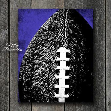 Football Purple Back Art Print - Purple Back