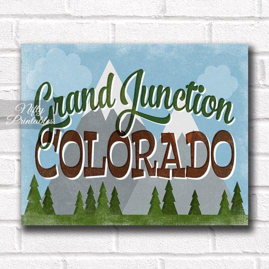 Grand Junction Colorado Art Print - Retro Mountain Scene