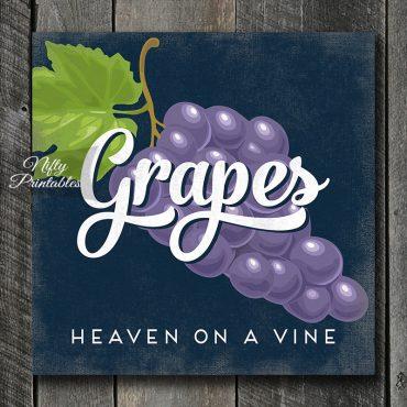 Vintage Grapes Art Print - Retro Fruit