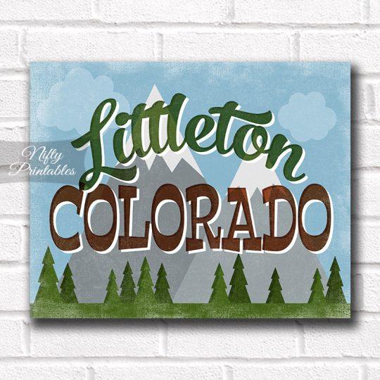 Littleton Colorado Art Print - Retro Mountain Scene
