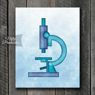 Microscope Blue Art Print