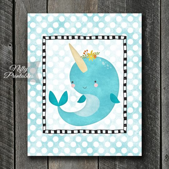 Narwhal On Blue Dots Art Print