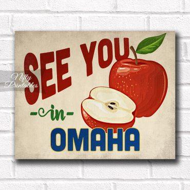 Omaha Nebraska Art Print - Vintage Apple