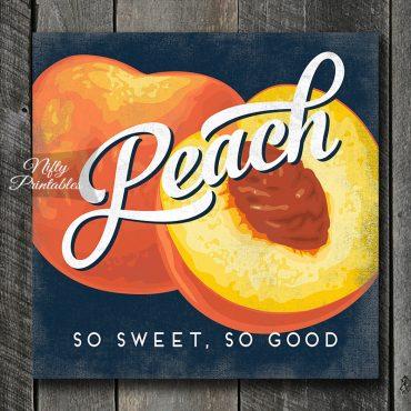 Vintage Peach Art Print - Retro Fruit