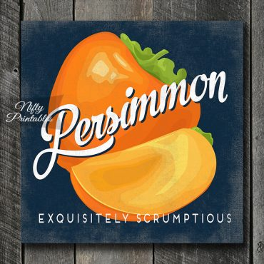 Vintage Persimmon Art Print - Retro Fruit