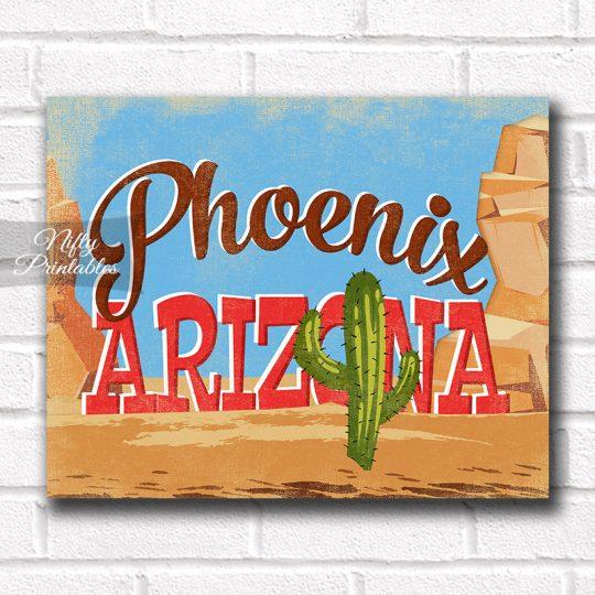 Phoenix Arizona Art Print - Retro Desert Scene