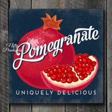 Vintage Pomegranate Art Print - Retro Fruit