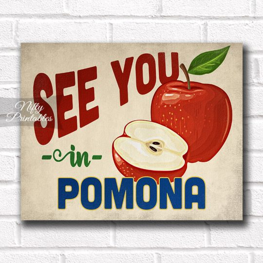 Pomona California Art Print - Vintage Apple