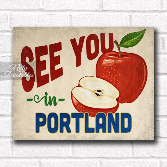 Portland Oregon Art Print - Vintage Apple