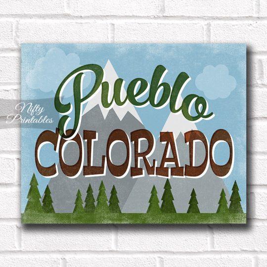 Pueblo Colorado Art Print - Retro Mountain Scene