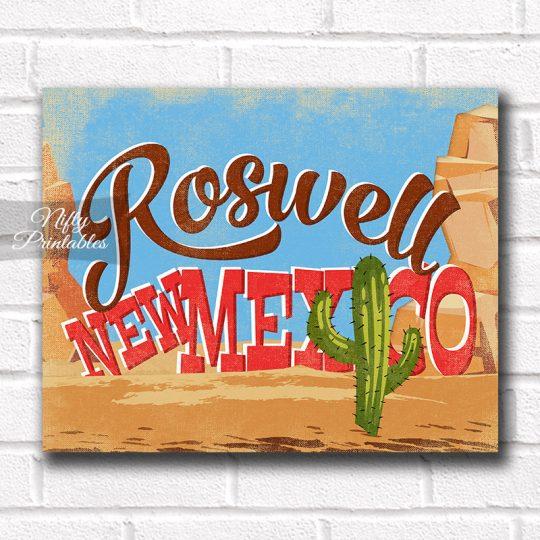Roswell New Mexico Art Print - Retro Desert Scene