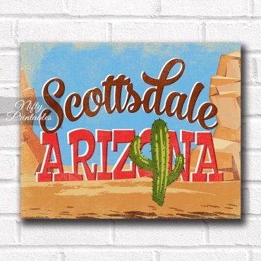 Scottsdale Arizona Art Print - Retro Desert Scene