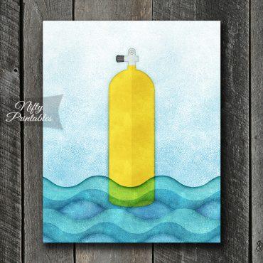 Yellow Scuba Tank Art Print