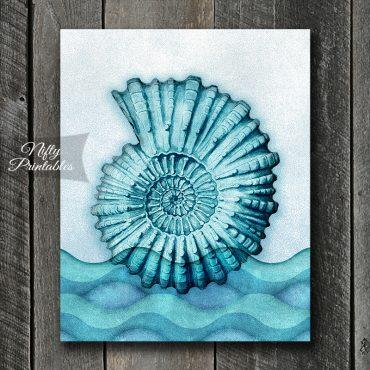 Nautilus Seashell Blue Art Print