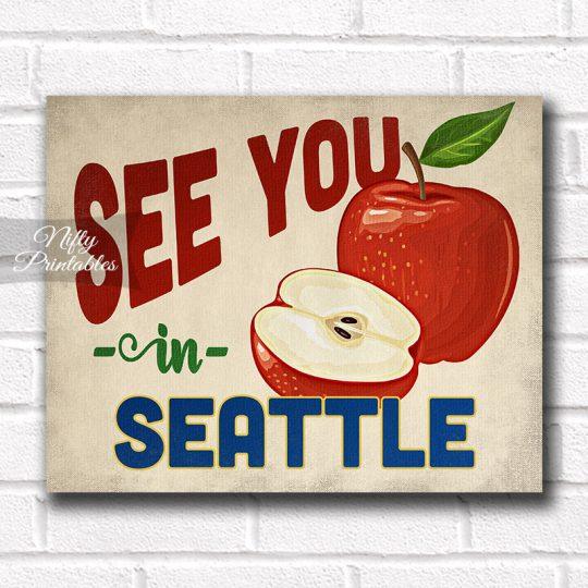Seattle Washington Art Print - Vintage Apple