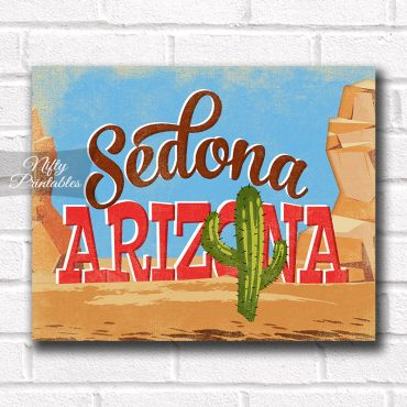 Sedona Arizona Art Print - Retro Desert Scene