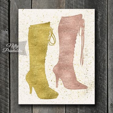 Sexy Boots Art Print - Gold & Rose Gold