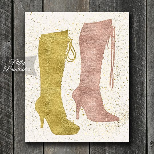 Sexy Boots Art Print - Gold & Rose Gold