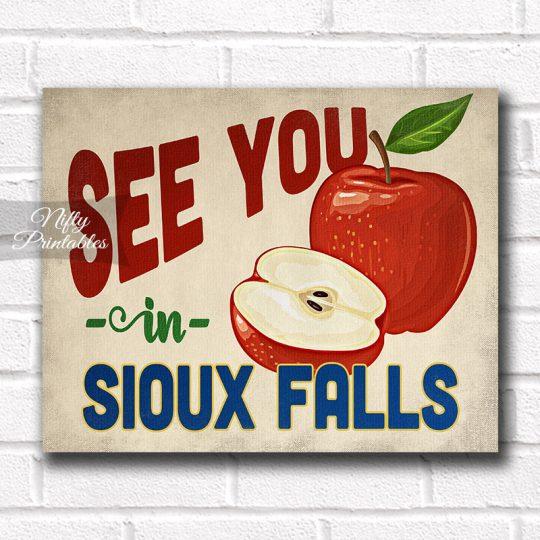 Sioux Falls South Dakota Art Print - Vintage Apple