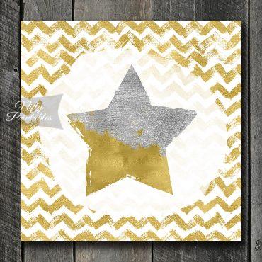 Star On Chevron Art Print - Silver & Gold