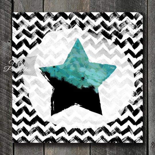 Star On Chevron Art Print - Turquoise & Black