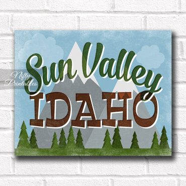 Sun Valley Idaho Art Print - Retro Mountain Scene