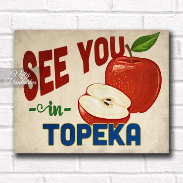 Topeka Kansas Art Print - Vintage Apple