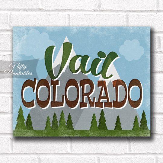 Vail Colorado Art Print - Retro Mountain Scene