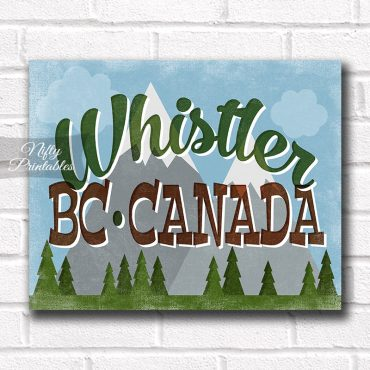 Whistler B.C. Canada Art Print - Retro Mountain Scene