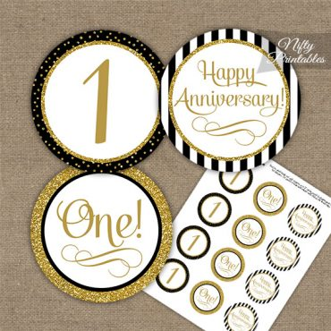 1st Anniversary Cupcake Toppers - Black Gold