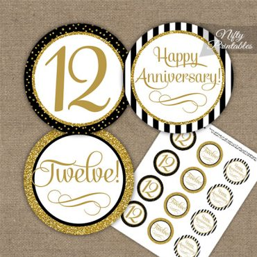 12th Anniversary Cupcake Toppers - Black Gold