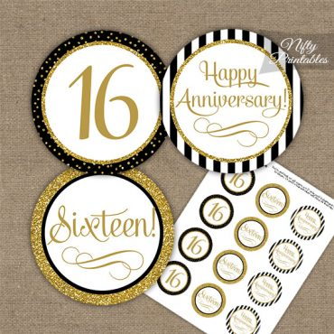 16th Anniversary Cupcake Toppers - Black Gold
