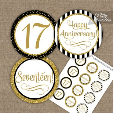 17th Anniversary Cupcake Toppers - Black Gold