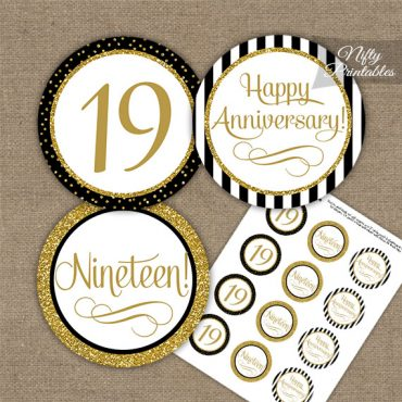 19th Anniversary Cupcake Toppers - Black Gold